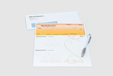 Custom Checks and envelopes By Black Tie Press