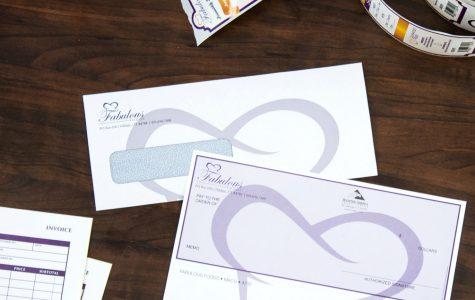 Custom printed envelopes and business checks with custom check by Black Tie Press